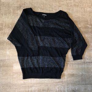 Express Sweater Black & Metallic Silver XS